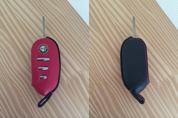 画像1: あっずキーカバー(Mito,ジュリエッタ用 カーボン調合皮&本革製) (1)
